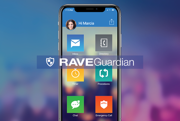 Smartphone with Rave Guardian graphic