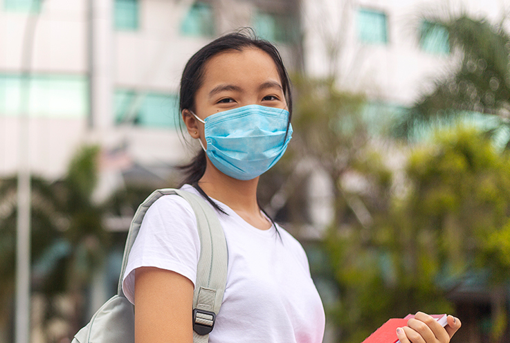 Female student with face mask